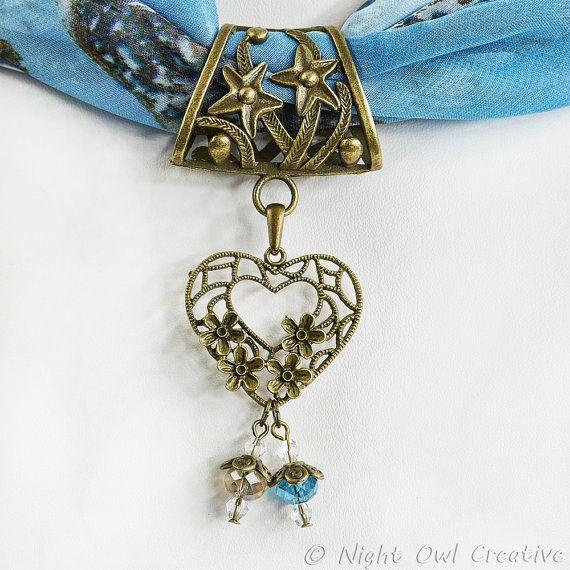 Scarf Jewelry Scarf Ring Filigree Valentine by NightOwlCreative
