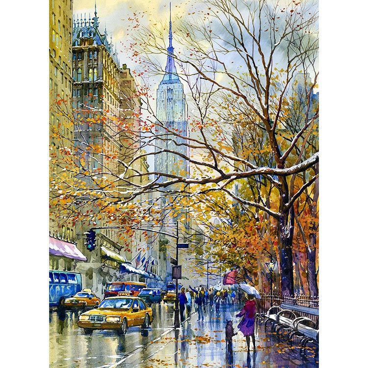 """NEW YORK CENTRAL PARK Spring Painting Giclee Canvas Signed 16x20/"""" by Artist"""