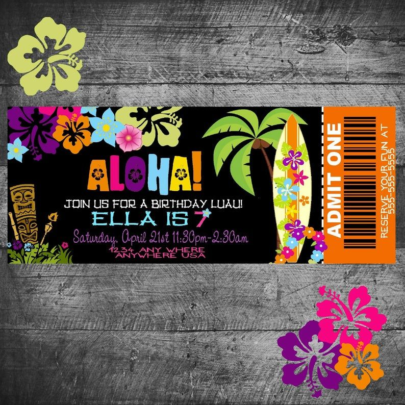 Hawaiian birthday invitation pineapple luau party