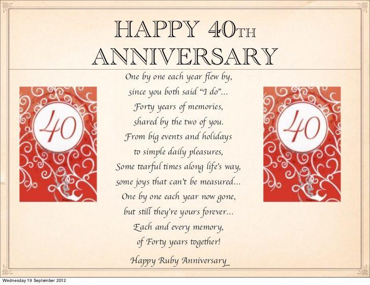Happy 40th Anniversary Happy 40th Anniversary Anniversary Quotes Wedding Anniversary Quotes