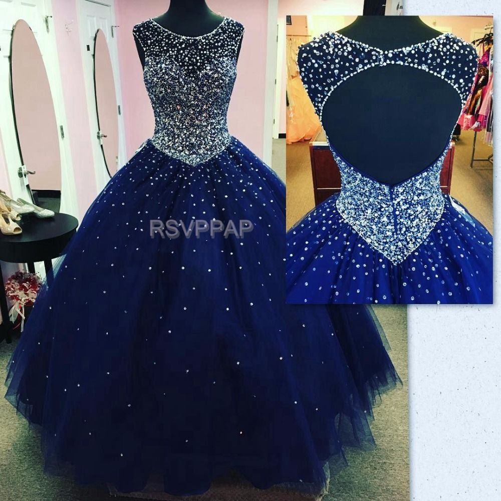Puffy long quinceanera dresses royal blue o neck sleeveless open
