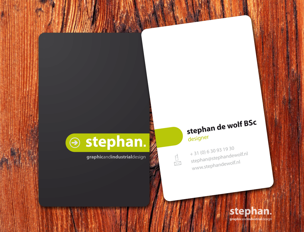 Business card. Different color sides, but single color and unifying ...