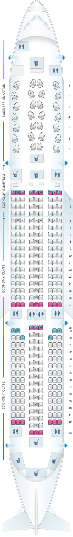 Seat Map Asiana Airlines Airbus A350 900