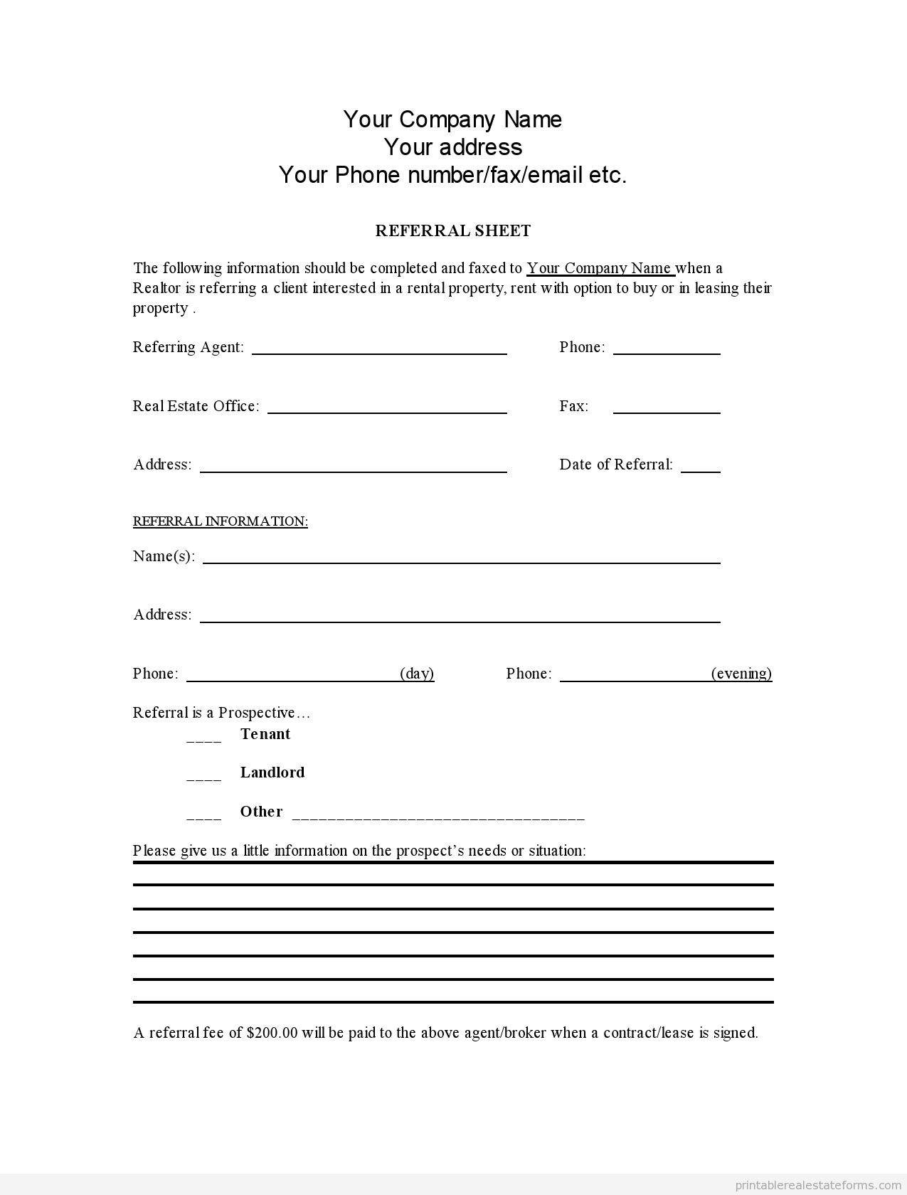 Sample Printable Referral Sheet For Realtors Form