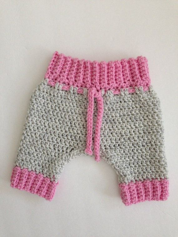 Crochet Hat and Pants Newborn Boy Girl Grey Pink by NancyBags4U