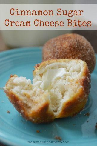 Cinnamon Sugar Cream Cheese Bites | Recipe | Cheese bites ...