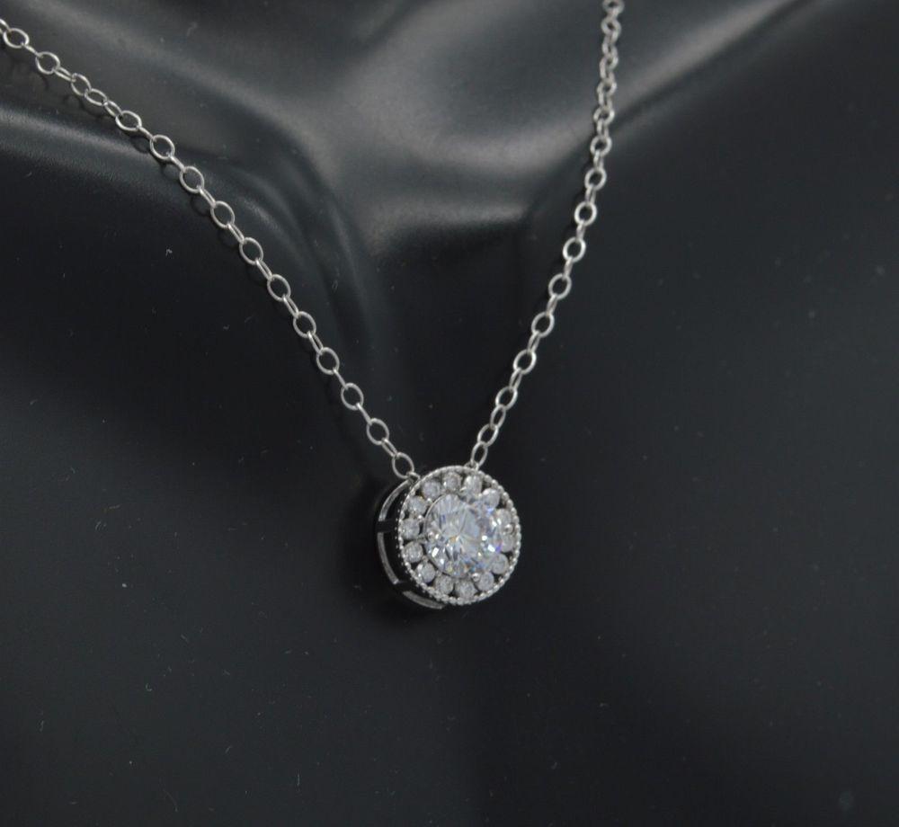 4e1fa768c1430c 0.80 Ct Halo Diamond Pendant 14k White Gold GP 18