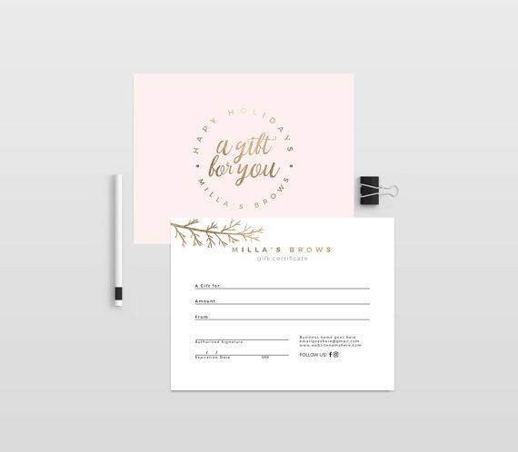 Millas Holiday Gold Double Sided Gift Certificate Template Instant