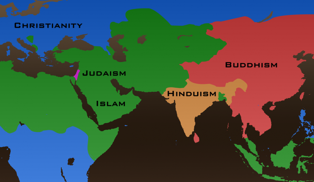Watch Years Of Religious History In Seconds To See The - World religion map judaism