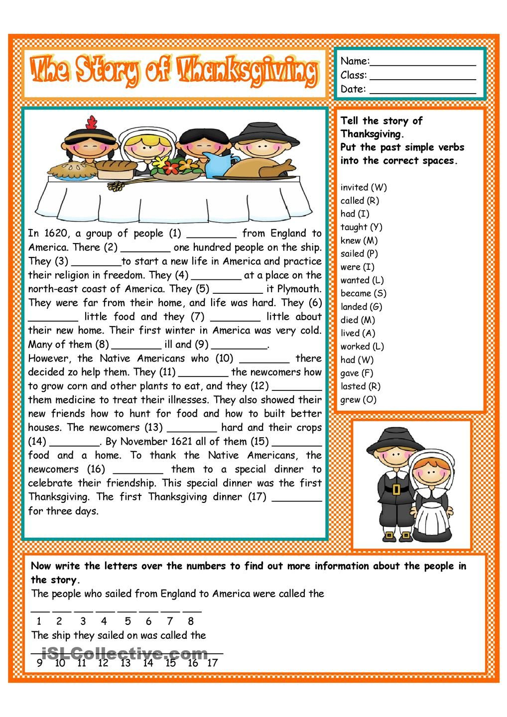 small resolution of The Story of Thanksgiving   Thanksgiving reading comprehension