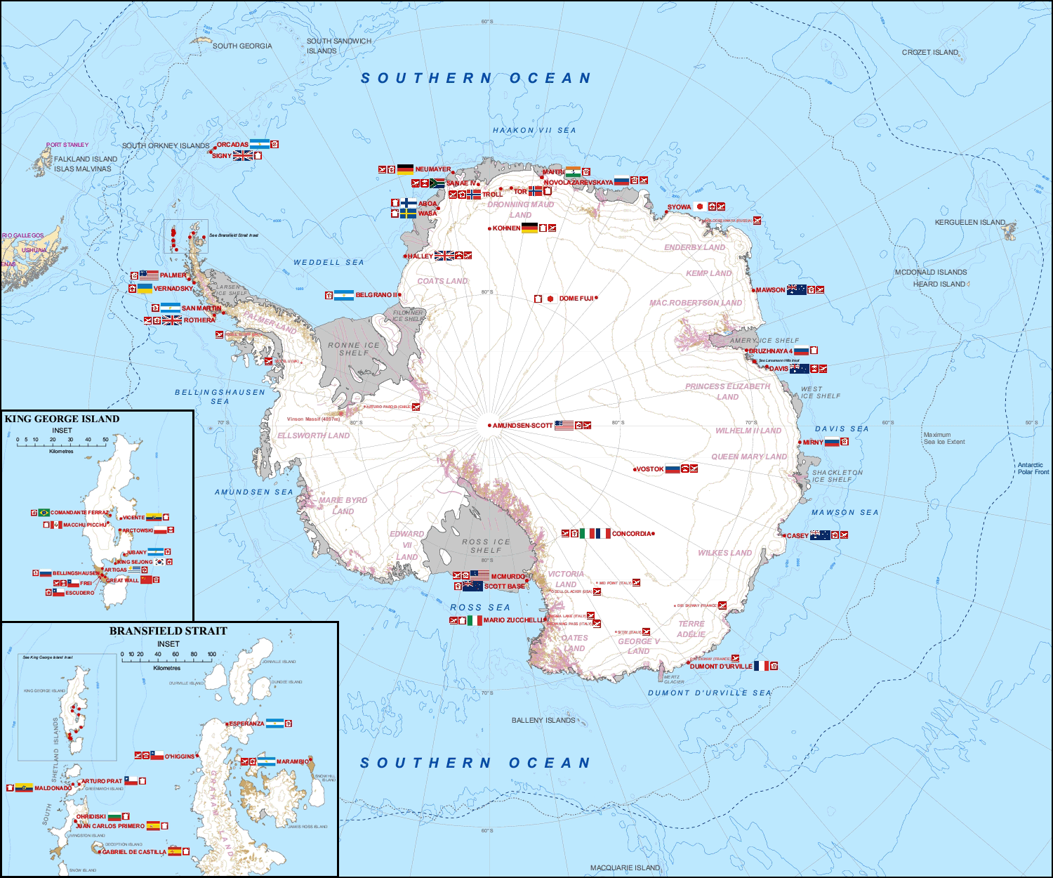 Map Of International Stations In Antarctica 1500x1250 Antarctica Cartography Map Map