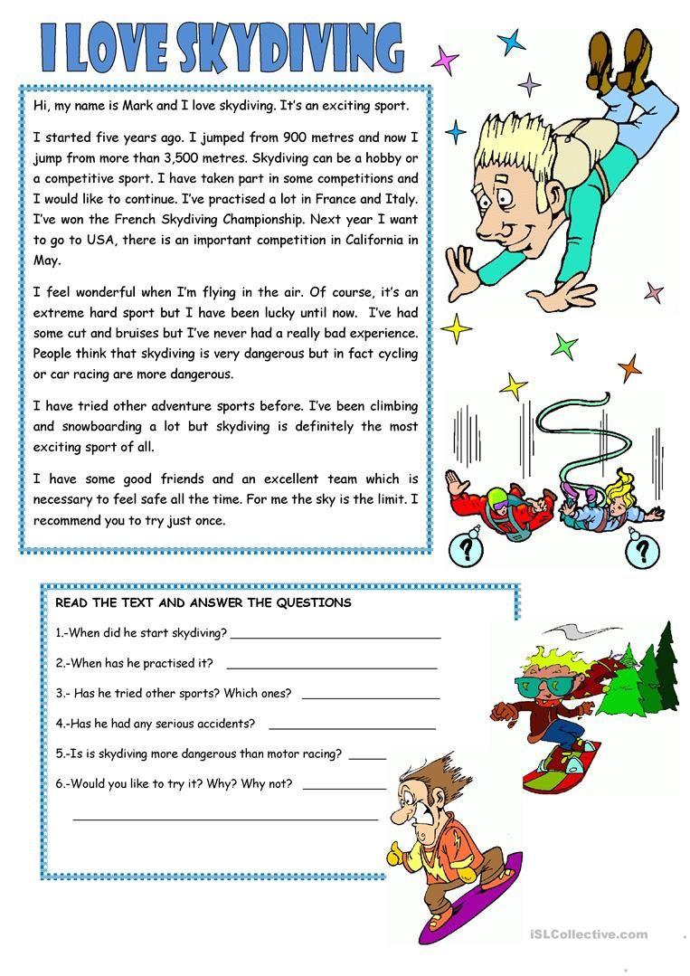 small resolution of READING: I LOVE SKYDIVING worksheet - Free ESL printable worksheets mad…    Reading comprehension worksheets