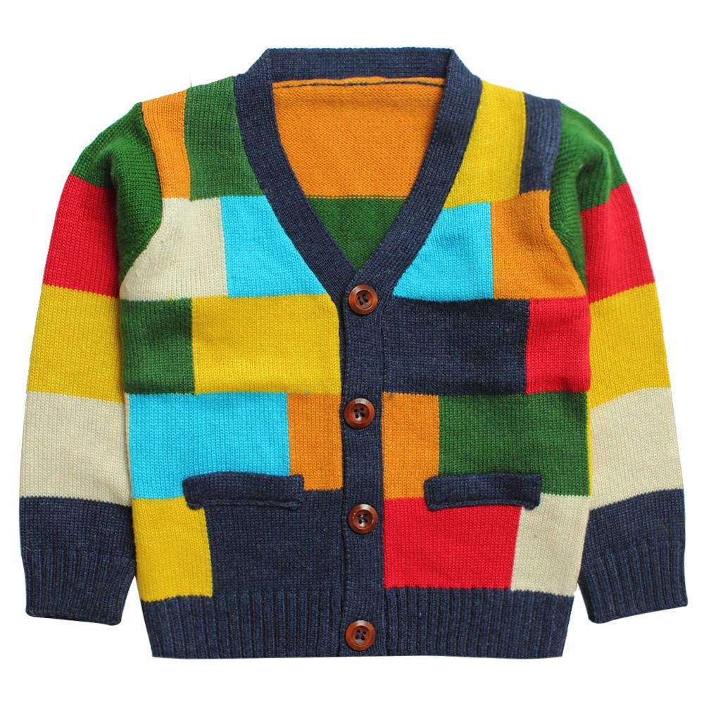 b67f216f3 Kids Toddlers Girls Boys Color Block 20% Cashmere Sweater Cardigan 2 ...
