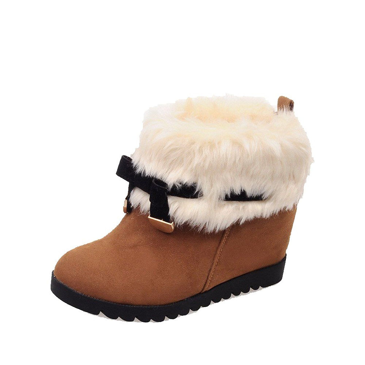Women's Solid High-Heels Round Closed Toe Imitated Suede Pull-On Snow-Boots
