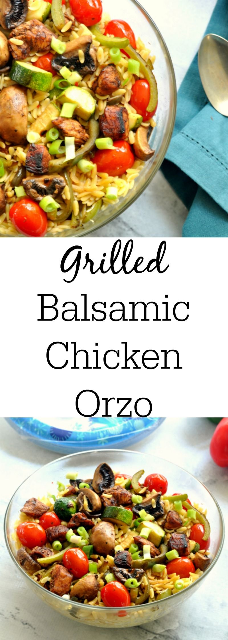 Grilled Balsamic Chicken and Vegetable Orzo is the perfect recipe to feed a crowd. The balsamic vinegar is a great pairing with the grilled meat and veggies