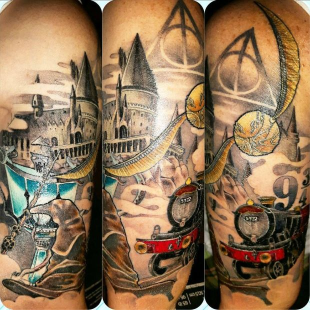 54 Magical Harry Potter Tattoos That Will Blow Your Muggle Mind Harry Potter Tattoos Harry Potter Tattoo Sleeve Harry Tattoos