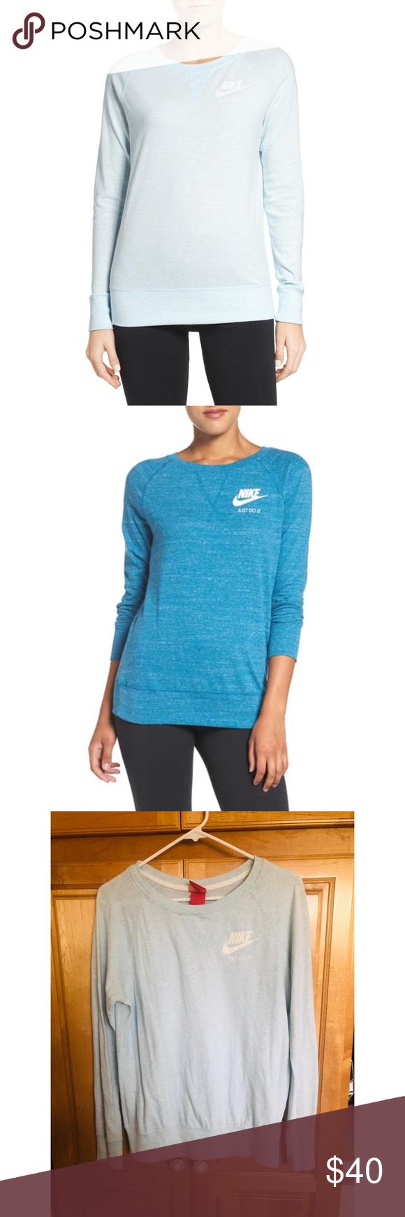 Nike Vintage Gym Crew Neck Sweatshirt Light Blue Clothes Design Vintage Nike Fashion [ 1740 x 580 Pixel ]