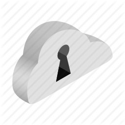 Information Isometric Network Safe Keyhole Key Cloud Icon Networking Computer Internet Cloud Icon