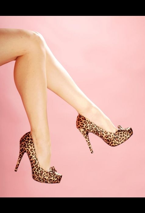 Leopard Print Satin Platform Heels from Pinup Couture Shoes