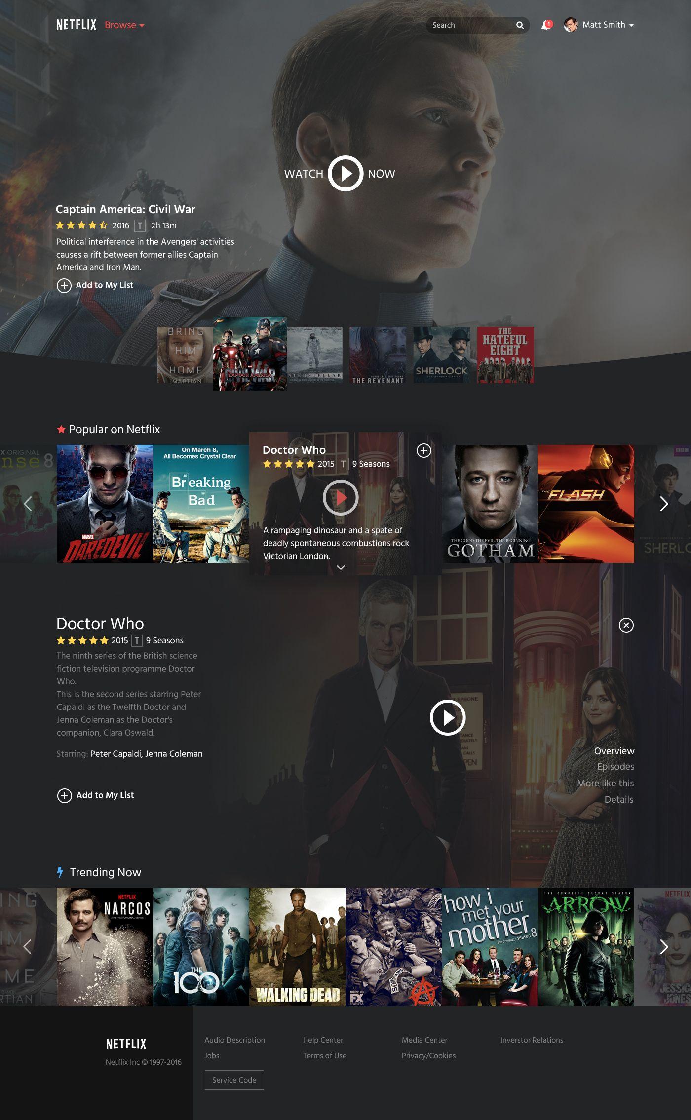 Netflix Restyle on Behance Weblayout Web layout, Web
