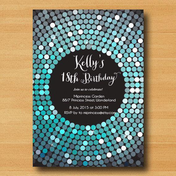 Blue Disco Ball Invitations Childrens Birthday Party Invitations