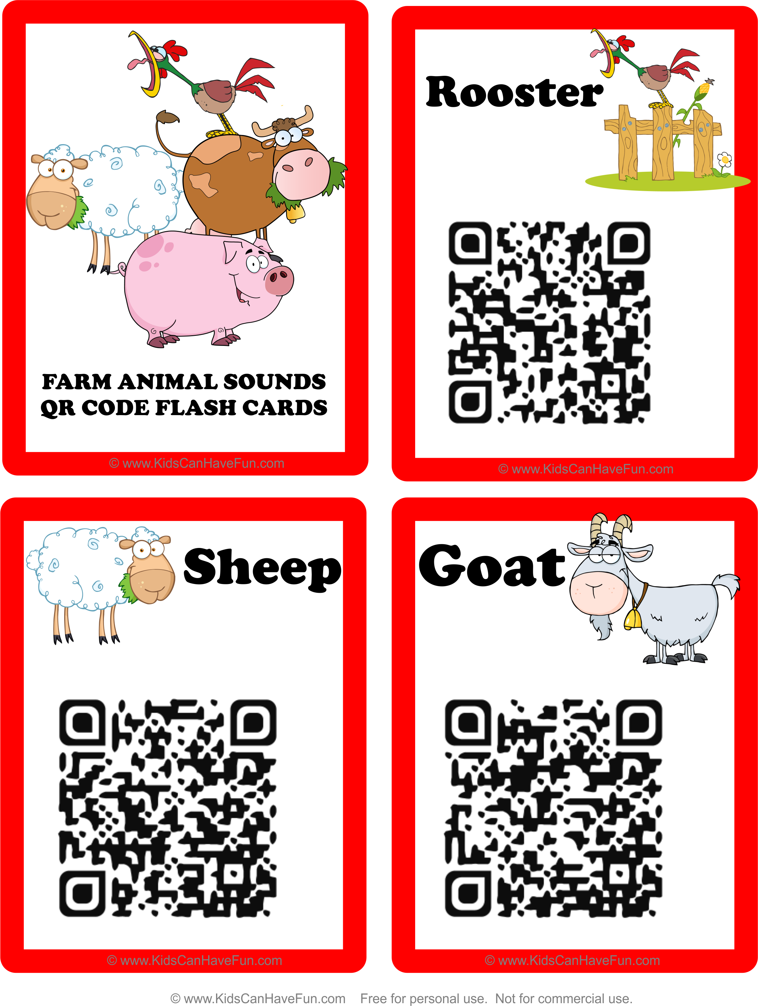Farm Animal Sounds Flashcards With Qr Codes Just Scan The