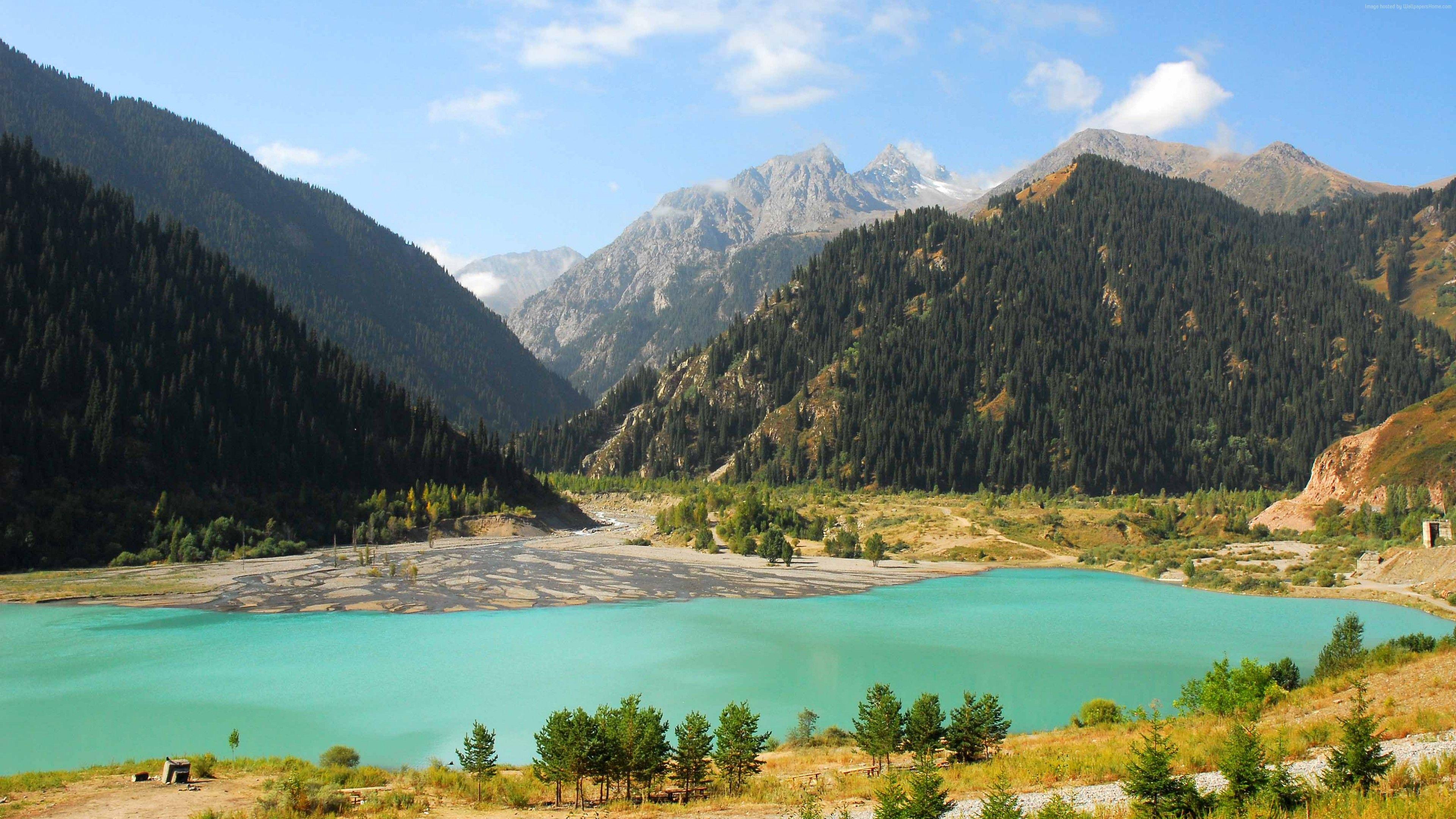 Wallpaper Lake Issyk Kul Kyrgyzstan Mountains Forest 4k Travel Http Www Pxwall Com Wallpaper Lake Issyk Kul Kyrgy Lake Travel Wallpaper Hd Wallpaper