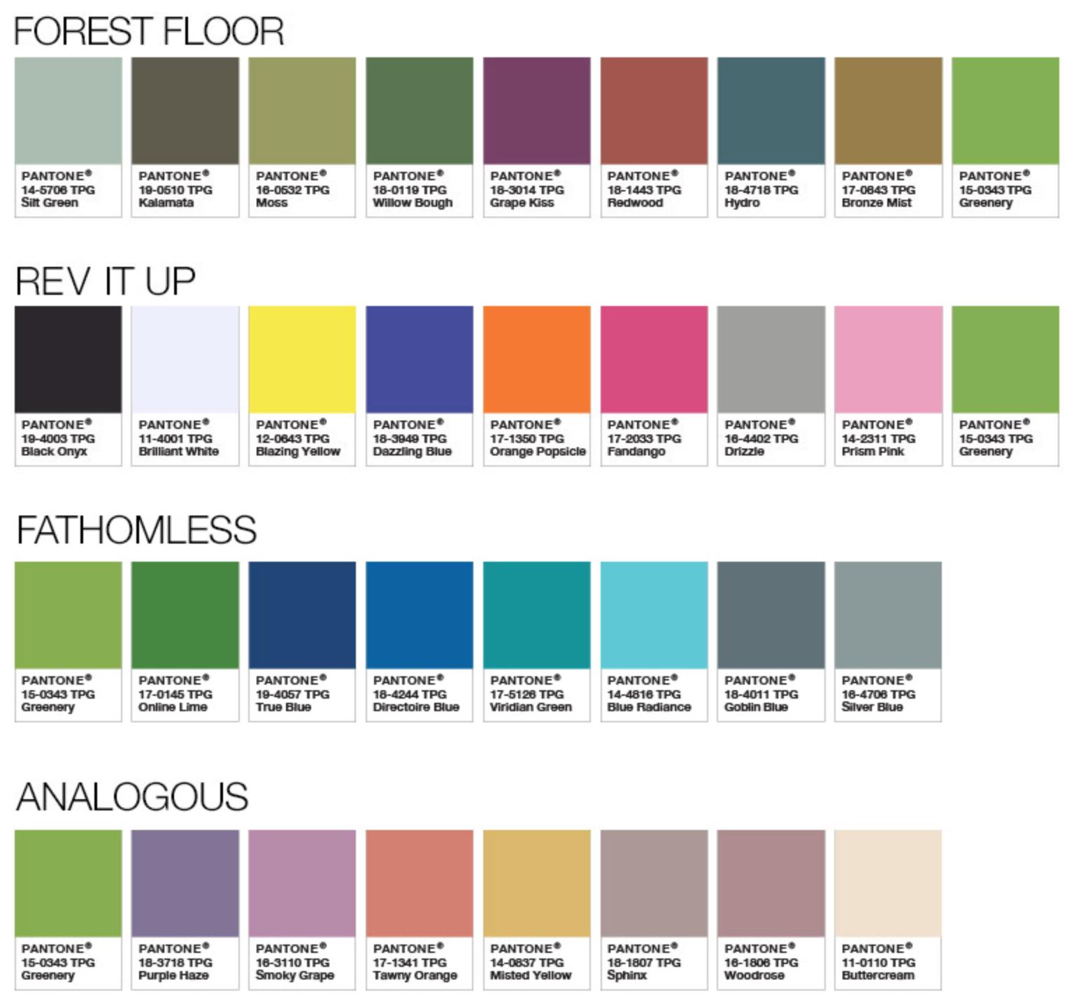 Pantone Color Palettes 2017 Forest Floor Rev It Up Fathomless Ogous