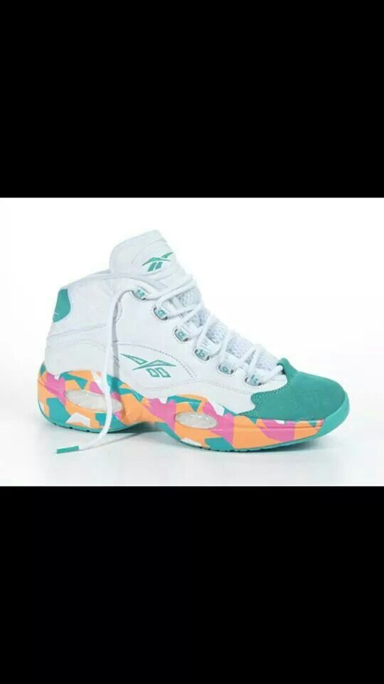 Womens White Green Orange And Pink Reebok Question Allen Iverson 3 Pink Reebok Sneakers Green And Orange