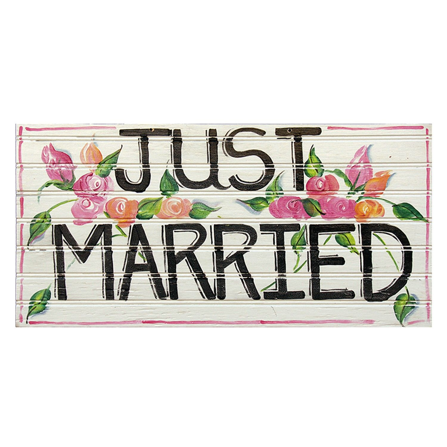 New Floral painted White Just Married Wooden Sign | We Love Weddings  QX47