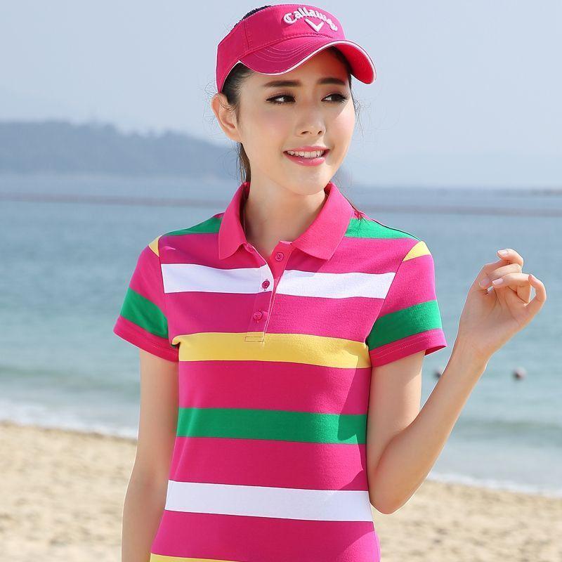 M-4XL 100% Cotton Polo Women 2016 Summer Plus Size Lady Striped Polo Raph Shirt Female Fringe Femme Clothing