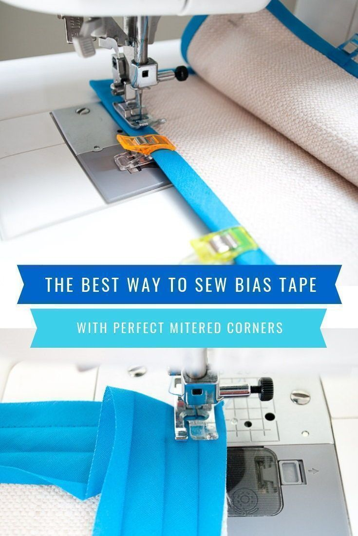 The best way to sew bias tape corners! This easy tutorial shows how to sew bias tape mitered corners using step-by-step photos plus a video. Bind bias tape edges like a pro! #bias #tape #corners #binding #sewing #sew #mitered