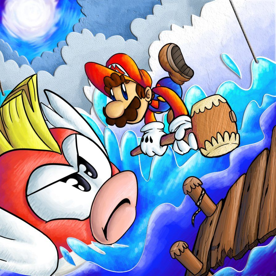 Paper Mario and Big Chep Chep! (Paper Mario)