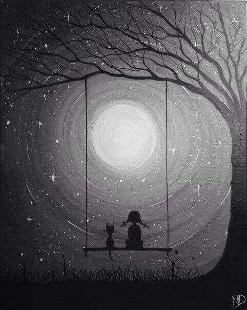 Contemplando La Luna Pinturas Tumblr Cuadros Pintura Pintura Al Oleo Paisajes