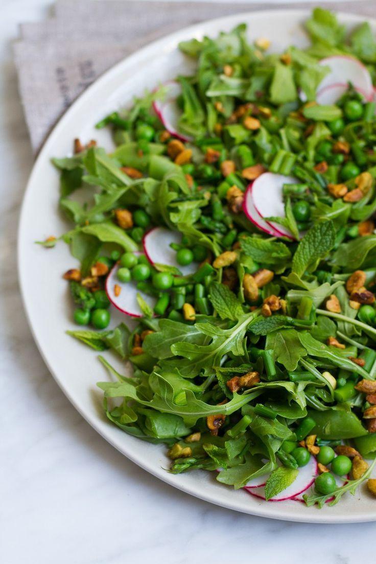 Asparagus pea and arugula salad with creamy poppy seed