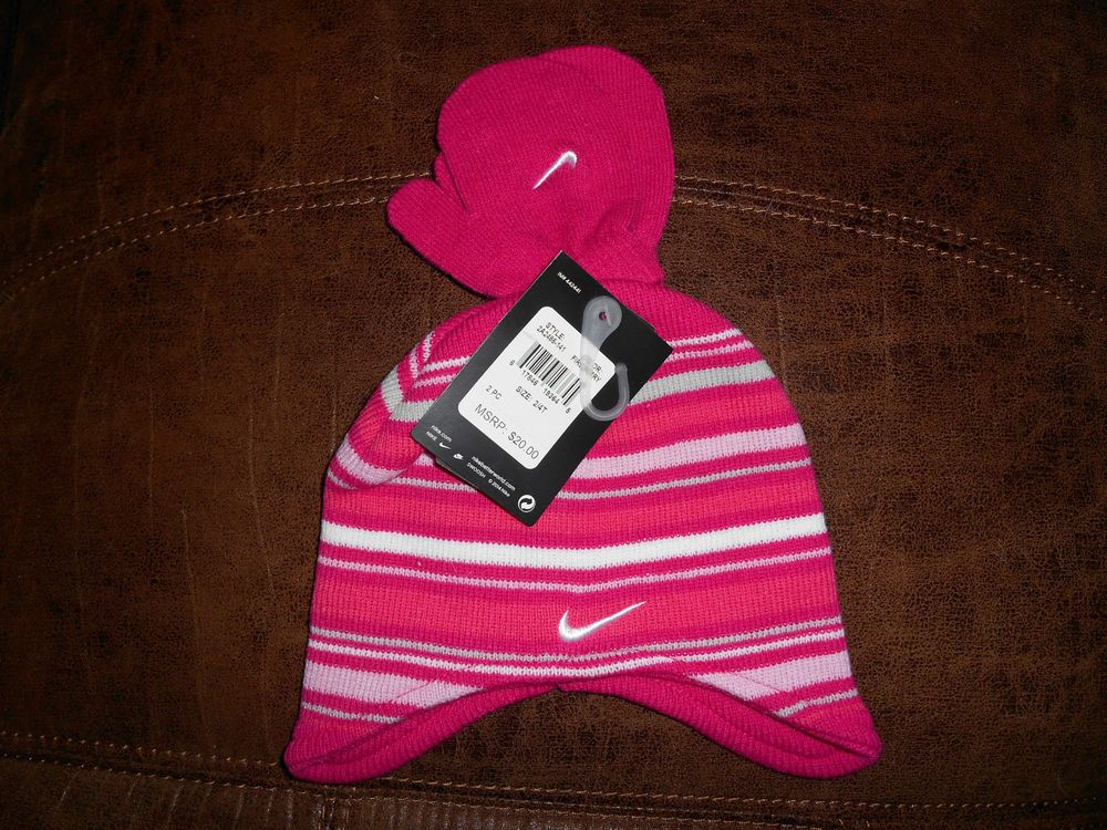 Nike Baby Infant Girls Striped Pink Knit Hat Mittens Set Size 2//4T