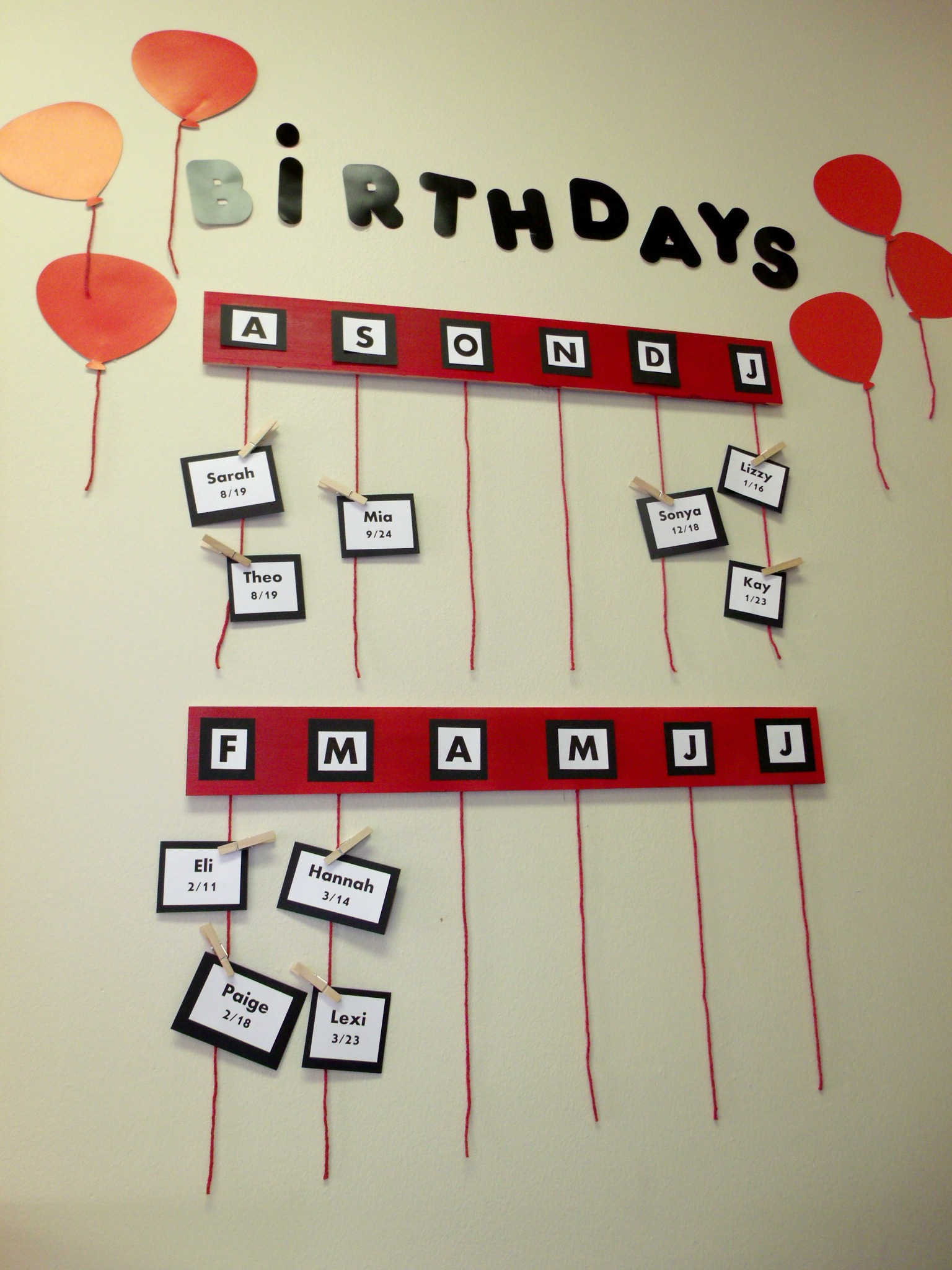 Classroom Wall Decoration Ideas For Primary School : Elementary classroom birthday wall birthdays