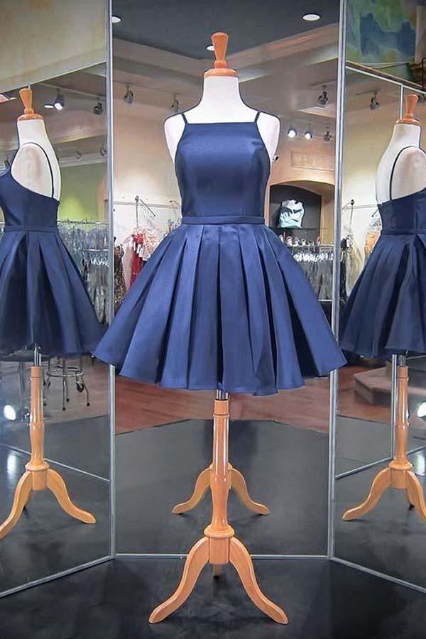 Comfortable Short Homecoming Dress, Navy Homecoming Dress, 2019 Homecoming Dress, Prom Dress Blue #navyblueshortdress