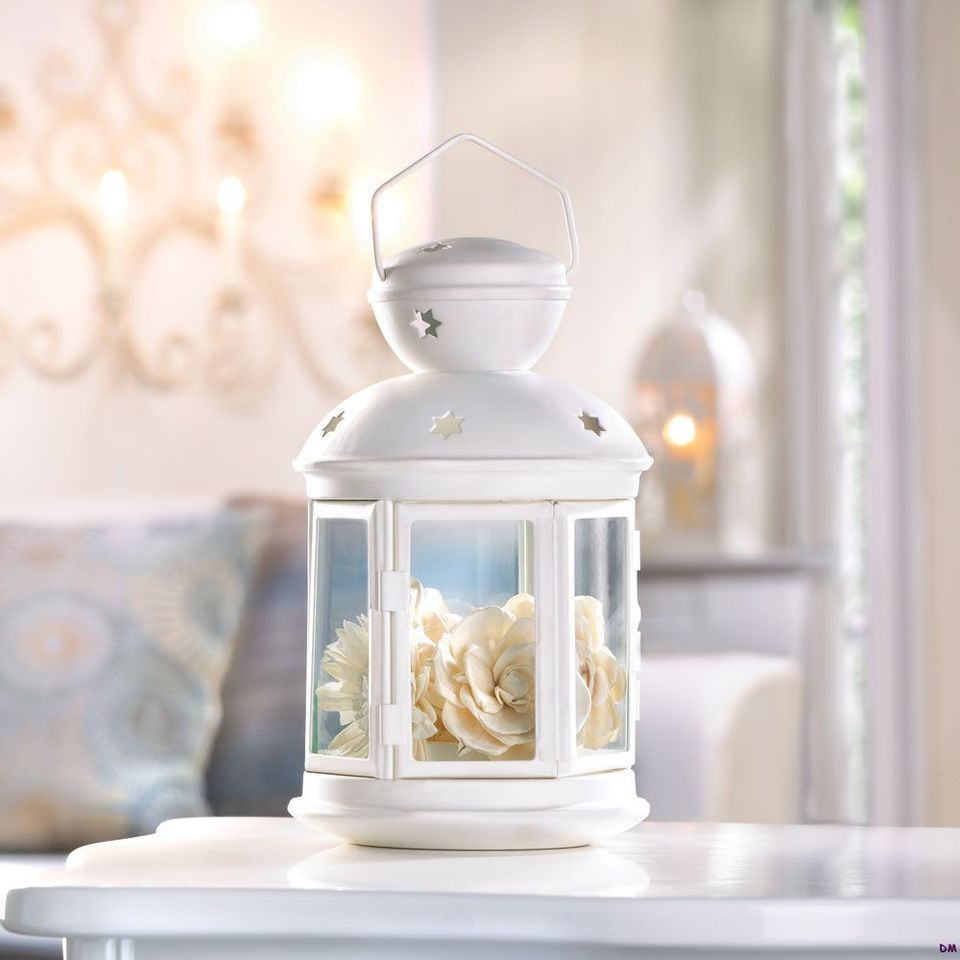 6 White Colonial Style Candle Lanterns Tabletop Wedding Table ...