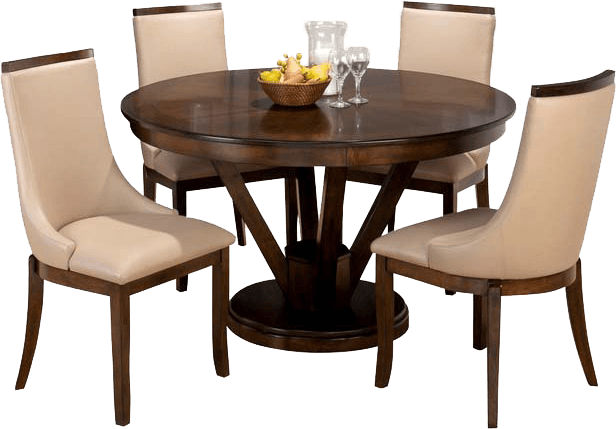 Classic Transitional 4 Seater Dining Set Having Fixed Round Table