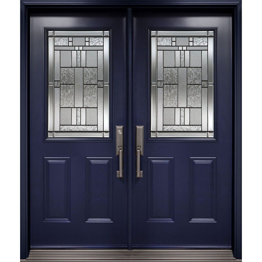 Double Entry Door From Classic Collection With 1 2 Cachet Decorative Glass Inserts Double Entry Doors Entry Doors Fiberglass Exterior Doors