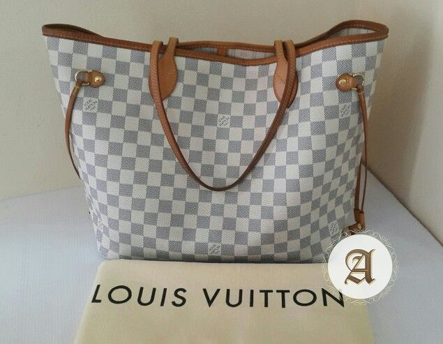 83b13771dd97 Used Authentic Louis Vuitton Neverfull Azur MM   🔴2
