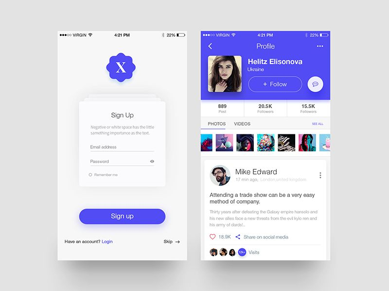 Xoss App - Profile \ Signup Screen App - email signup template