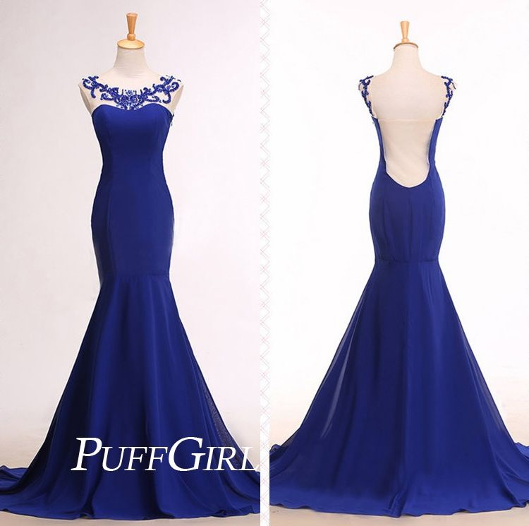 Royal Blue illusion Mermaid Formal Gown With Sheer Back on Storenvy ...