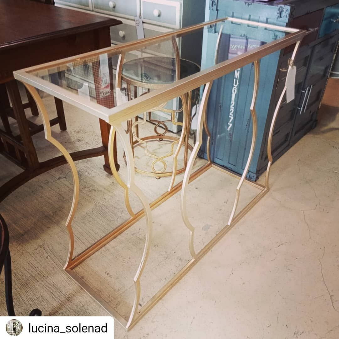 #Repost @lucina_solenad • • • • • Console table. Metal framework in satin gold finish. With...