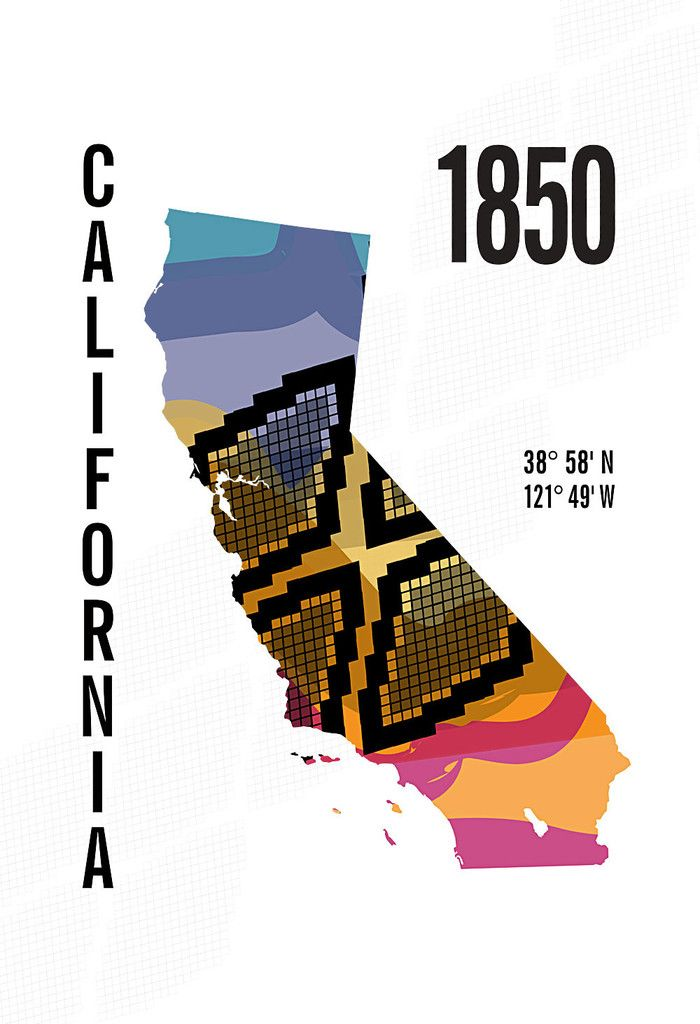 California State Map Poster Jhill Design Map Prints A R T