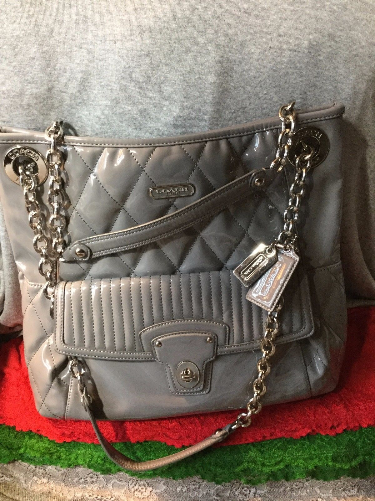Handbag Coach Grey Patent Leather Chain Quilted Shoulder Bag Tote Snap Hobo   Bonanza  Doris Daily Deals 4a768ce3f0