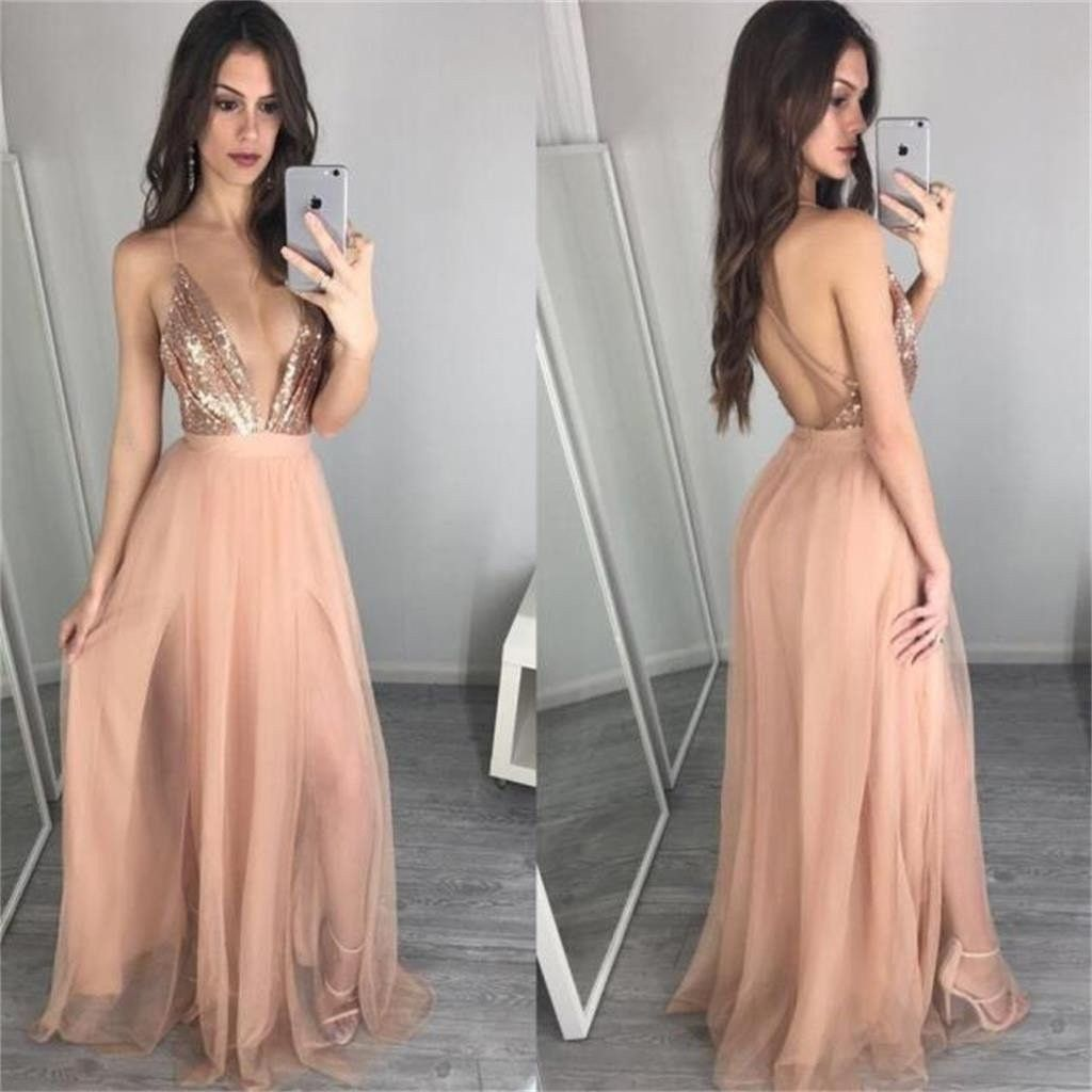 2017 Deep V Neck Sequin Sexy Long Popular Prom Dress, Party Dress ...