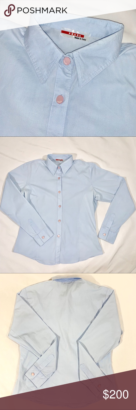 00ef50ee98 ⚡️SALE⚡️PRADA Blue Shirt with Pink Button AMAZING Prada shirt ...