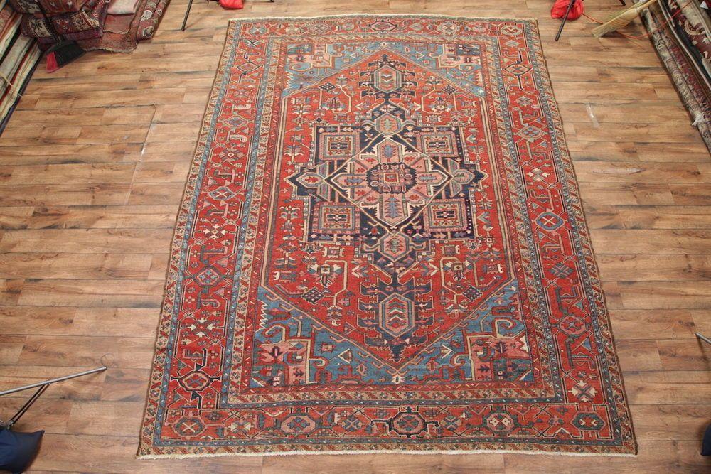 "Vegetable Dye Antique 10x13 Heriz Serapi Persian Oriental Area Rug 12' 7"" x 9' 8 #Persian"